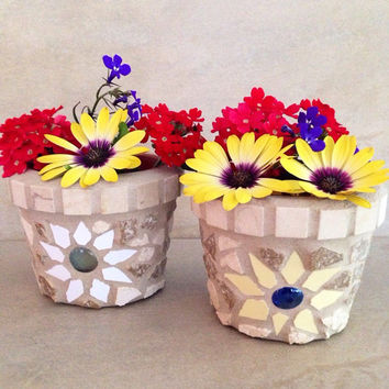 Mini mosaic flower pot, gardener gift, handmade herb pot, succulent planter, summer decor, outdoor planter, summer decor, cactus planter,