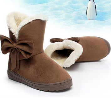 Ugg boots during the winter to keep warm boots and thicken the new bow boots Coffee