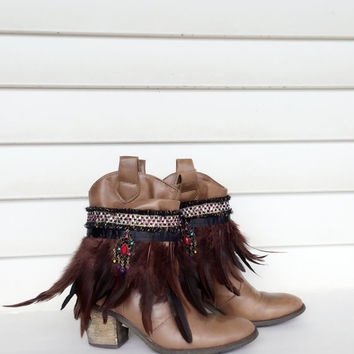 Bohemian Boot Covers Feather Boot Cuffs Gypsy Boot Wrap Ankle Cuff Boot Bracelet Boot Accessories Fashion Boot Bling