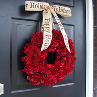 Happy Holidays Christmas Wreath, Holiday Wreath Hydrangea Wreaths, Front Door Winter Wreath