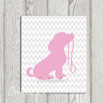 Dog printable Pink Gray Nursery dog print Grey Chevron Little girls bedroom decor Gift idea Dog wall art Dog Silhouette wall decor Download