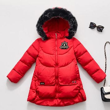 Girls Winter Coat 2017 Brand Winter Jackets for Girls Thickening Hooded Cotton Outerwear Kids Warm Parkas Baby Girl Clothes