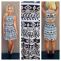 Black & White Tribal Babydoll Open Back Dress