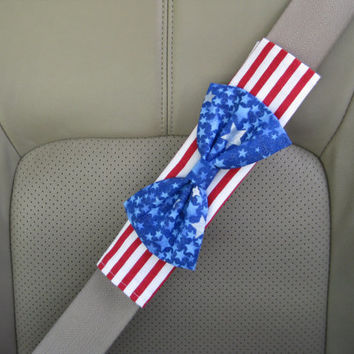 American Flag Seat Belt Cover Bow, Custom Seatbelt Cover with Bow BF11204
