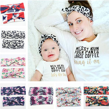16 Colors 2016 New Mom and Me Headband With Knit Cotton Baby Girl Headband Mommy and me Headbands Photo Prop Mom and Baby Set