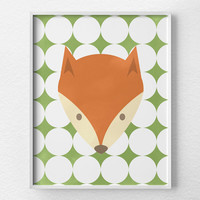 Fox Print, Woodland Nursery, Fox Nursery Art, Fox Decor, Fox Poster, Baby Nursery Decor, Children Wall Art, Nursery Animals