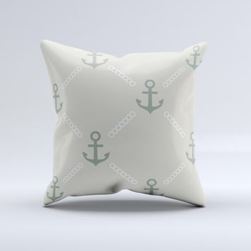 Tan Vintage Solid Color Anchor Linked Ink-Fuzed Decorative Throw Pillow