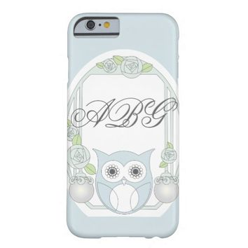 Cute Retro Owl and Roses Monogram Light Blue Barely There iPhone 6 Case
