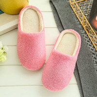 2017 New Indoor Slippers Fashion Winter Men Women Cotton Plush Warm Slipers Solid Color Unisex Home Floor Soft Slippers Shoes