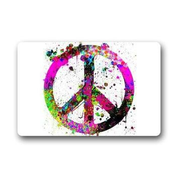 Autumn Fall welcome door mat doormat Top Fabric & Non-Slip Rubber Indoor/Outdoor  s - Colorful Oil Splash World Peace Sign Watercolor Art Floor Mat AT_76_7
