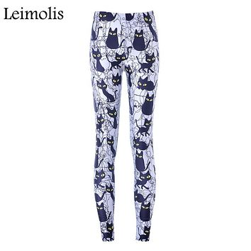 Leimolis High Waist punk rock Harajuku workout push up fitness sexy 3d print night black cat women leggings plus size