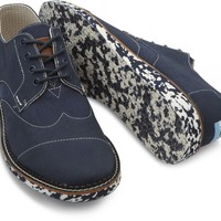 TOMS Shoes Navy Blue Flecked Sole Brogues Men's Dress Shoes,