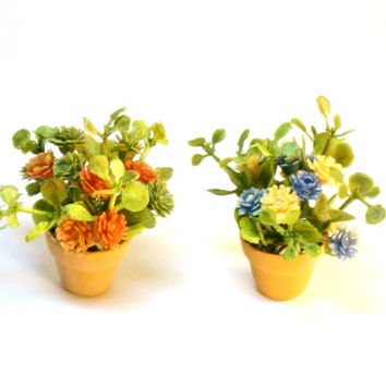 Miniature Plants Set of Two Fairy Garden Dollhouse Flowers in Clay Pots
