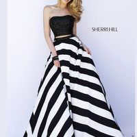 Sherri Hill Stripe Skirt Two Piece Prom Gown 32221