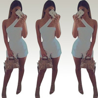 White One-Shoulder Cut-Out Romper
