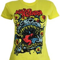 Asking Alexandria Eyeballs Ladies Yellow T-Shirt - Offical Band Merch - Buy Online at Grindstore.com