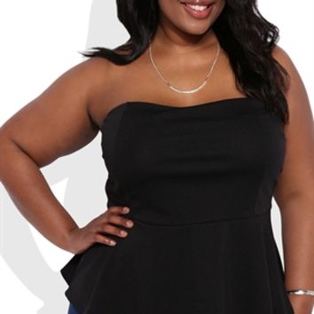 Plus Size Peplum Tube Top with Built-In Bra Cups