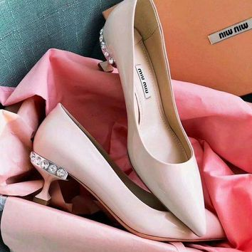 Prada Miu Miu Patent Leather Pumps With Jewels Pink - Best Deal Online