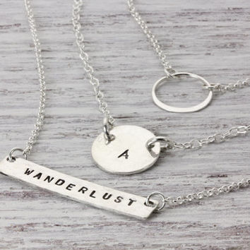 Personalized Layered Necklace Set of 3 Necklaces - Choose Words Names Latitude Longitude - Sterling Silver Hand Stamped - Christina Guenther
