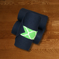 Equine Standing Wraps/Navy Standing Wraps w/Green Quatrefoil Velcro Straps by Brax Designs