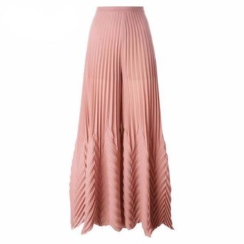 Pink Pleated High-Waist Wide Leg Pants