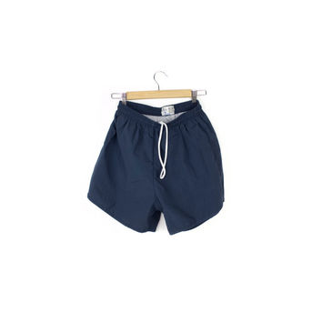 90s plain nylon swim shorts / solid blue short swim trunks / mens small size 30 / drawstring waist