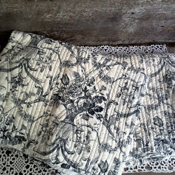 "TOILE SHAMS, Set of 2, Standard Shams, 20"" x 24"", Cotton, Black & White, Country Chic, Home Decor, Farmhouse Decor, Bedding, Linens, Floral"