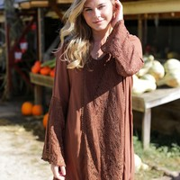 Lace Contrast Bell Dress, Coffee