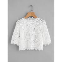 Hollow Out Eyelash Lace Crop Top White