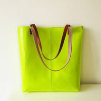 Neon Tote bag, Vegan Leather Tote, Lime, Fluorescent Yellow, Patent