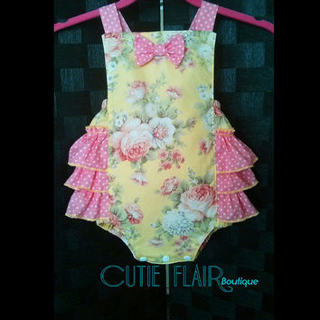 Baby Girl Romper - Baby Retro Sunsuit Romper - Snap Crotch Sunsuit - Ruffled Romper - Yellow Vintage Roses and Pink - Custom Sizes 3M-2T