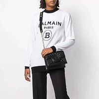 BALMAIN Women Round Neck Top Sweater Pullover Sweater White