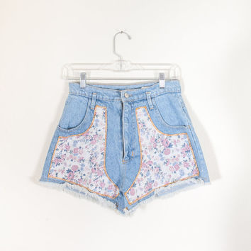 Vintage High Waisted Cut Off Shorts / 90s Denim Shorts Festival Style Blue Jean Shorts Soft Grunge Floral Print Shorts Boho Chic 80s Shorts