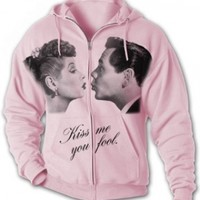 I Love Lucy KISS Adult Full Zip Hoody Sweatshirt, Medium, White