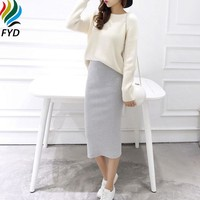 Solid Pencil Skirt Stretch Slim Thin Women Skirts  Spring Autumn And Winter Female Bodycon Long Skirts Saia Femininas