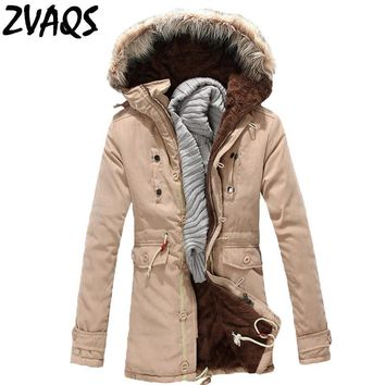 ZVAQS Jaqueta Masculina Inverno 2017 New Long Parka Winter Jacket Men With Fur Hood Casual Thick Coat Casacas Para Hombre ST041