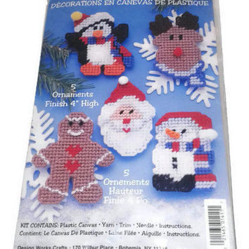 Design Works Crafts 1411 Plastic Canvas 5 Christmas Ornaments Kit Santa Snowman Holiday Decor Ornament Christmas Decorations