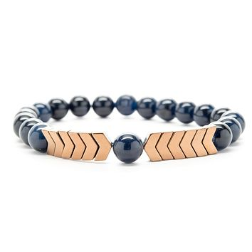 Navy Blue Jasper Gemstones Beaded Bracelet for Men and Women
