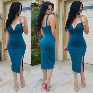 Blue Plunging Side Slit Midi Dress