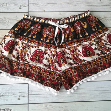 Pom pom Shorts Elephant Peacock Printed Beach Summer Hippie Exotic Boho Clothing Aztec Ethnic Bohemian Ikat Boxers Shorts Pants Unique Red