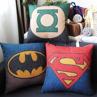 Superman Batman Green Lantern Sign Mark linen cushion pillow cover sofa bedroom sitting room adornment