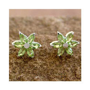 Sterling Silver 'Summer Blossom' Peridot Earrings (India) | Overstock.com