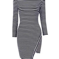 Monochrome Stripe Long Sleeve Asymmetric Dress