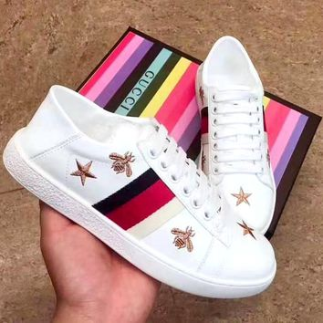 Free Shipping-GUCCI Embroidered Bee White Shoes