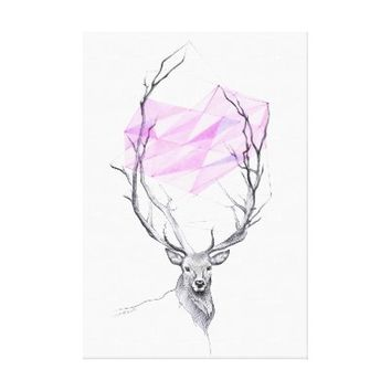 Deer and pink geometric heart drawing canvas prints