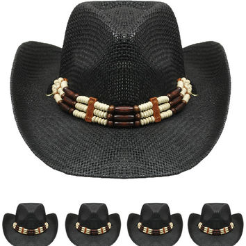 330b9dda520 black color western hat with beaded band Case of 72