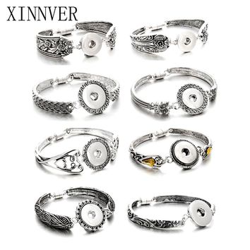 Hot Sale Snap Jewelry Silver 18mm Snap Buttons Bracelet Flowers Carved Vintage Magnetic Snap Bracelets for Women Men