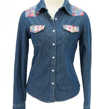 Floral patch denim long sleeve snap buttons shirt