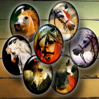 Horse - 30x40mm and 22x30mm ovals - Digital Collage Sheet CG-661O - for Pendants, Cabochons, Cameos, Crafts