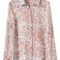 Multicolor Buttons Front Long Sleeve Print Blouse